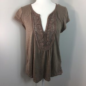Anthropologie Meadow Rue Top Blouse Size L Brown
